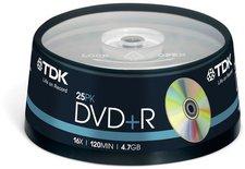 TDK DVD+R 4,7GB 120min 16x 25er Spindel