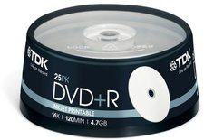 TDK DVD+R 4,7GB 120min 16x bedruckbar 25er Spindel