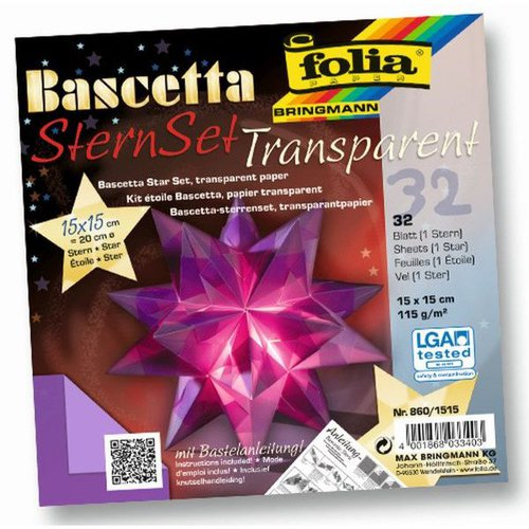 Folia Bascetta SternSet Transparent Violett 15x15 cm