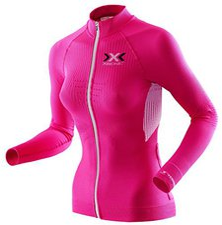 X-Bionic X-Bionic The Trick Biking Shirt Long Sleeves Full Zip Women pink / white