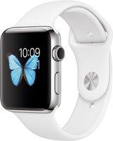 Apple Watch Series 2 Edelstahl silber mit Sportarmband weiß