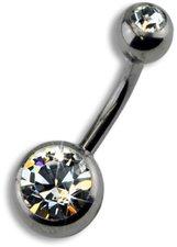 ZEEme Bauchnabelpiercing mit weißem Kristall (8...